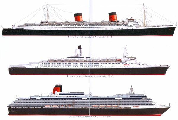 Three Cunard QUEEN ELIZABETH - Trois QUEEN ELIZABETH de la Cunard
