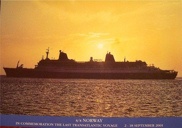 SS NORWAY carte postale pour la dernière traversée de l'Atlantique septembre 2001 (2)