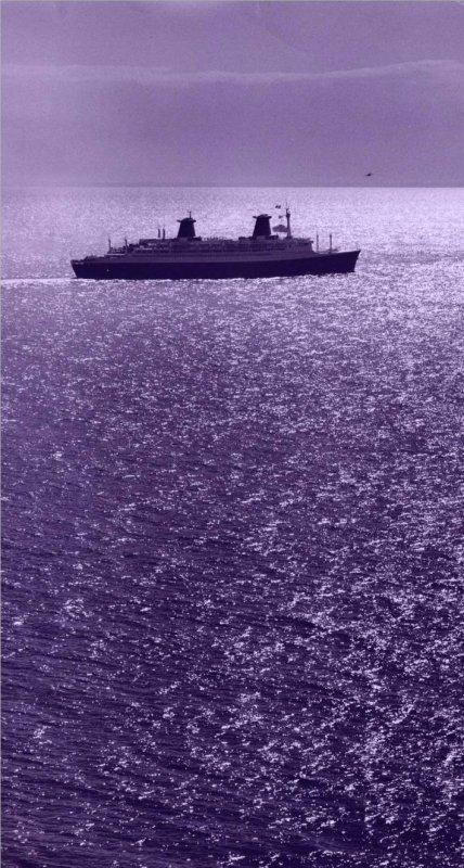 SS FRANCE 1962 quittant Le Havre vu du Cap de La Hève
