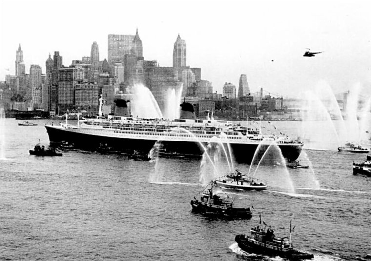 Voyage inaugural du FRANCE à New York : 1962