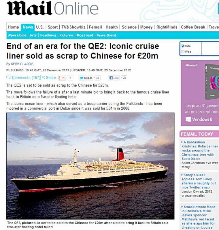 S O S     QE 2  -  Queen Elizabeth 2 serait vendu à la ferraille..