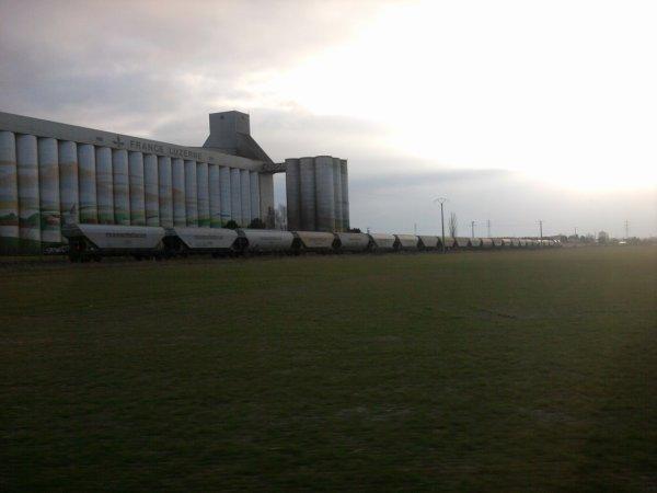 train de céréales devant le silo de france luzerne