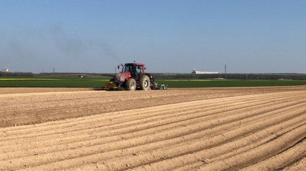 Valtra au buttage de pommes de terre avec butteurs agronomic