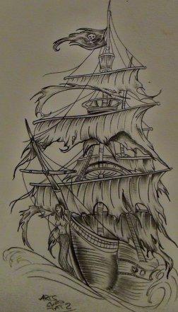 tatouage dos navire pirate blog de arts skad tattoo. Black Bedroom Furniture Sets. Home Design Ideas