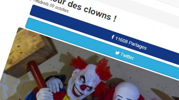 Le retour des faux clowns tueurs Un an après l'emballement sur les clowns violents en France, ils sont de retour... un faux article affirme qu'un jeune homme a été tué à la hache en région parisienne a été partagé à des milliers de reprises ces derniers heures.