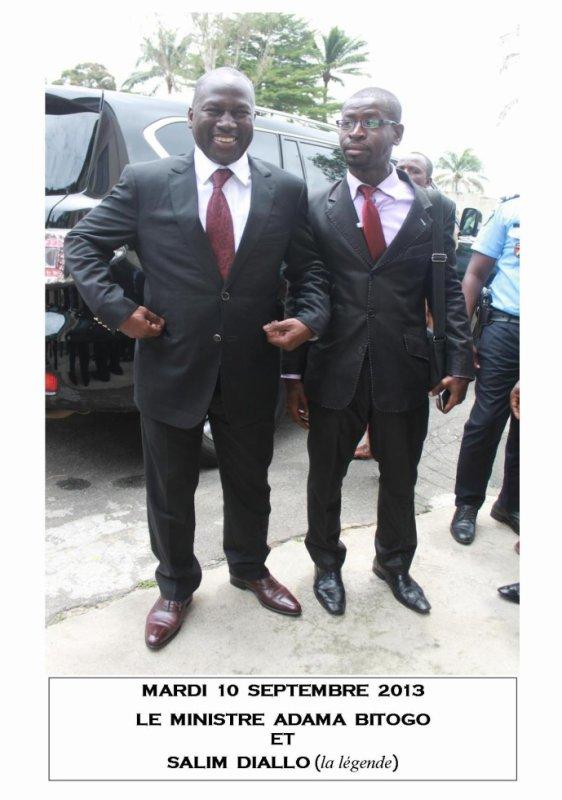 Mardi 10 septembre 2013. Abidjan.  Le ministre Adama Bictogo et votre serviteur Salim Diallo