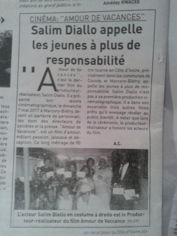 Salim Diallo    Les Journaux en parle...........Félicitation à toi Salim Diallo