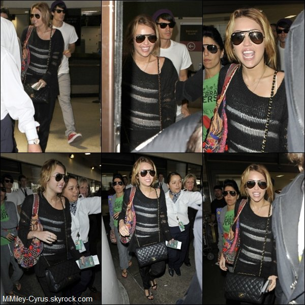 -  Miley  l'aéroport de LAX , USA  -  Miss Cyrus n'est plus à Paris mais est retournée en Amérique où elle a été photographié sortant de l'aéroport de LAX . Elle va se reposer quelques jours et puis après cest reparti pour le tournage de LOL !! Et bonne nouvelle on connait la sortie du film pour la France et c'est le ...01 Septembre 2011 sous le nom de Lol- Made in USA . Et oui on va devoir attendre encore un an mais cela en vaut la peine non ?   -