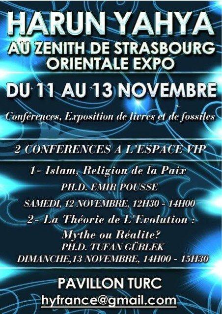 conferences Harun Yahya au zenith de Strasbourg du 11 au 13 novembre