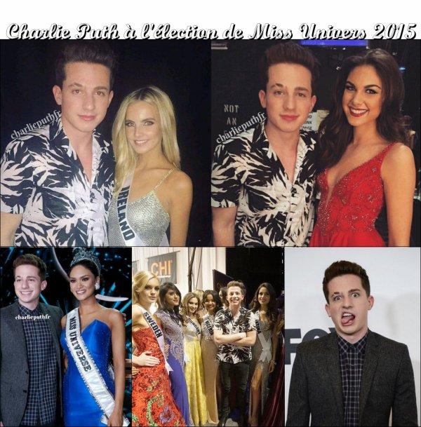Charlie Puth performant à l'élection de Miss Univers 2015