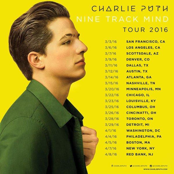 Date de la tournée de Charlie Puth