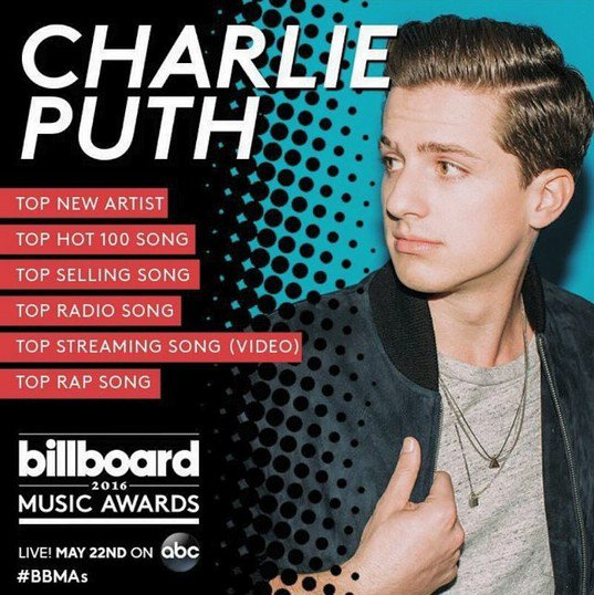 Charlie Puth nominé aux Billboard Music Awards 2016