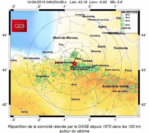 ALERTE SÉISME DANS LES PYRÉNÉES : Ce mardi matin 14 avril 2015 aux alentours de 6h25, la terre a tremblé dans les Pyrénées. L'épicentre du séisme d'intensité à 3,8 sur l'échelle de Richter s'est produit à 2km d'Oloron Sainte-Marie dans les Pyrénées-Atlantiques. (Source ASTRO CLUB LOURDAIS et BCI).