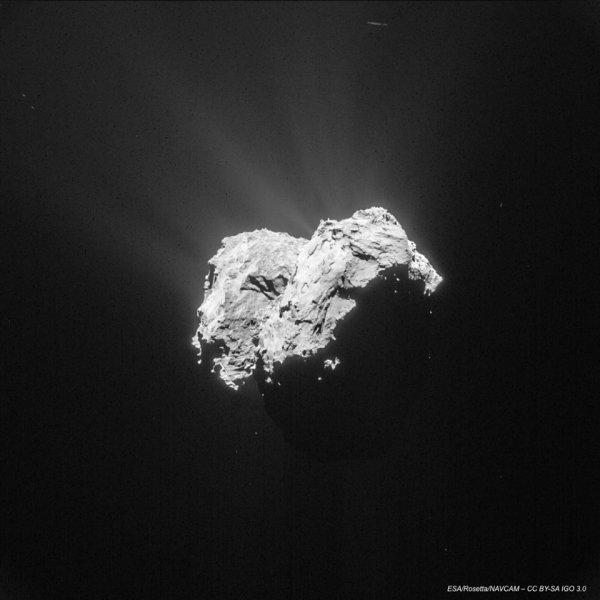 ROSETTA INFO DIRECT : SAMEDI 25 AVRIL 2015 : 12h NOUVELLE IMAGE de la Comète 67P/C-G prise par la caméra NAVCAM de la sonde ROSETTA à 101km le 18 avril 2015. (Source ESA-CNES)