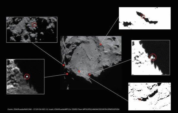 ROSETTA INFO DIRECT : JEUDI 11 JUIN 2015 16h RECHERCHE DE PHILAE SUR LA COMÈTE Toujours à la recherche de Philae sur la comète 67P/Churyumov-Gerasimenko. Quelques sites sélectionnés d'après les dernières images et un assez bon candidat sur la photo à proximité de l'ellipse rouge... mais est ce vraiment Philae ? Malheureusement, il est impossible d'être sûr pour l'instant!!! (Source ESA-CNES)