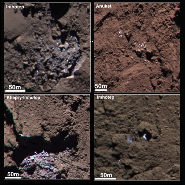 ROSETTA INFO DIRECT : JEUDI 25 JUIN 2015 9h45 DE LA GLACE SUR LA COMÈTE (suite) : A la surface de la comète Churyumov-Gerasimenko, sombre comme du charbon, des blocs de glace brillent au Soleil. Ces images ont été prises en septembre 2014, à une époque où la comète était loin du Soleil et où la glace, plongé dans le froid et l'obscurité, ne se sublimait que très lentement. (Photos ESA)