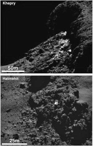 ROSETTA INFO DIRECT : JEUDI 25 JUIN 2015 9h45 DE LA GLACE SUR LA COMÈTE (suite) : En survolant la comète à une vingtaine de kilomètres de distance seulement, la sonde ROSETTA est parvenu à la photographier en très gros plan. Sur ces images, les plus petits détails mesurent environ un mètre. En haut, un amoncellement de rochers couverts de glace, au pied d'une falaise. En bas, un bloc isolé, mesurant environ 3 mètres mais ne pesant que quelques grammes, a été éjecté par un geyser puis a « volé » sur une grande distance avant de retomber à la surface… (Photos ESA)