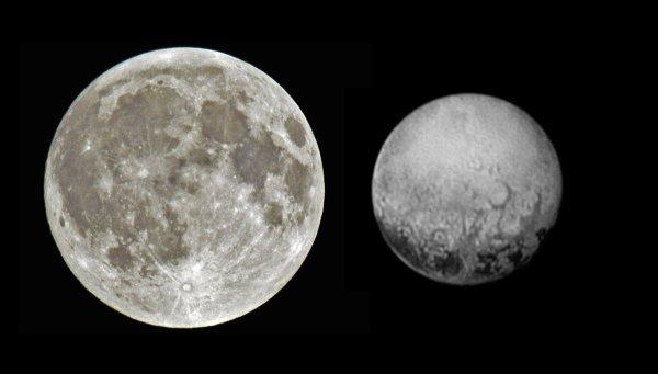 NEW HORIZON INFO DIRECT : DIMANCHE 12 JUILLET 19h Le 14 juillet, le premier survol de la planète PLUTON aux confins du système solaire sera effectué par la sonde NEW HORIZON de la NASA. Après 9 ans de voyage interplanétaire et 5 milliards de kilomètres, la sonde survolera Pluton à très grande vitesse, 50 000 km par heure soit 14 km par seconde et à 12 500 km d'altitude seulement. Pluton n'a jamais été observée de près, même le télescope spatial Hubble n'a jamais pu « voir » l'exoplanète en détails. Nous en reparlerons lors de la SEMAINE DE L'ASTRONOMIE toutes les après-midi entre 14h et 17h au sommet du Pic du Jer à Lourdes!! Photo la Lune et Pluton à l'échelle !!