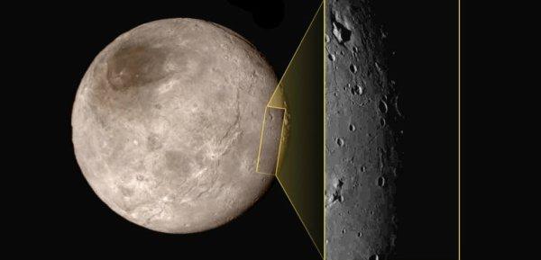 NEW HORIZONS INFO DIRECT : LUNDI 20 JUILLET 18h LA PREMIÈRE IMAGE DE CHARON le satellite de PLUTON prise ce 15 juillet par la sonde NEW HORIZONS montre une surface à l'aspect très inattendu pour les astronomes. Que Pluton soit active n'a pas été une surprise. En revanche, les chercheurs ont été très surpris par le satellite Charon. Ils pensaient découvrir sur les images de New Horizons une surface figée dans le temps, très cratérisée. Mauvaise pioche ! Une ressemblance troublante avec la Lune L'image publiée le 15 juillet 2015 a ceci de très étonnant que le zoom fait par New Horizons lors du survol fait beaucoup penser à la surface de la Lune. L'analogie pourrait s'arrêter là, car la surface de Charon est faite de glace d'eau. Sauf qu'il y fait si froid que l'eau est aussi dure que la roche ! On distingue de grandes zones planes sans cratères, comme si ces dernières avaient été remplies par un liquide qui se serait solidifié en refroidissant. Sur la Lune, les bassins d'impacts géants ont ainsi été comblés par de la Lave. Sur Charon, on voit même quelques pics qui émergent d'une de ces plaines. Sur la Lune, certains reliefs de ce type sont des volcans. (Source NASA-AFA)
