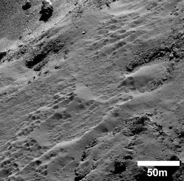 ROSETTA INFO DIRECT : LUNDI 27 JUILLET 12h UNE NOUVELLE IMAGE AVEC UN GROS PLAN D'UNE RÉGION de la comète 67 p /Churyumov-Gerasimenko La caméra haute résolution OSIRIS de la sonde ROSETTA nous montre ici un détail de la région baptisée Ma'at sur le noyau de la comète 67P. Pour les scientifiques, sous cette zone recouverte de poussière se cacherait un matériau riche en glace d'eau qui se dessèche au fur et à mesure que la glace d'eau se sublime (passe directement de l'état solide à celui de vapeur). Publié par l'ESA le 15 juillet, ce cliché a été acquis le 19 octobre 2014 alors que Rosetta passait à seulement 8 km de la surface du noyau. (Sources ESA-CNES-CE)