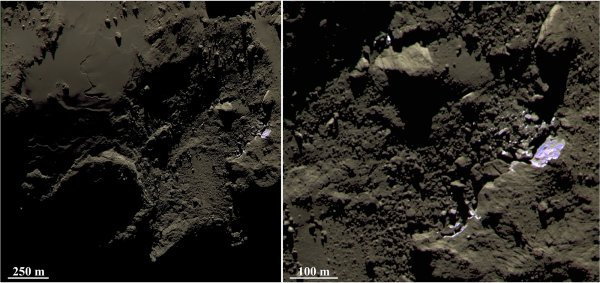 ROSETTA INFO DIRECT : MARDI 28 JUILLET 9h30 UNE NOUVELLE IMAGE AVEC UN GROS PLAN D'UNE RÉGION de la comète 67 p /Churyumov-Gerasimenko : ROSETTA VOIT ENFIN DE LA GLACE SUR CHURY !! A la surface de la comète, Philae nous a montré un sol fait de conglomérats de roche. Nous sommes là bien loin de la « boule de neige sale » apprise à l'école. Et pourtant elle dégaze cette comète ! La glace est donc bien quelque part. Justement, les équipes de la sonde Rosetta viennent enfin de dévoiler une image de la caméra à haute résolution Osiris montrant ce qui a tout l'air d'être de la glace de surface. Elle apparaît en bleu sur cette photo en vraies couleurs. À droite, un zoom sur cette zone. Pour le moment, sa composition précise n'est pas connue. Les chercheurs ne savent pas s'il s'agit de glace d'eau, ni à quel point elle est mélangée avec d'autres matériaux comme de la roche. Quoi qu'il en soit, il s'agit manifestement d'une des zones les plus jeunes de la comète. Cette vue a été prise à 43 km de distance et montre de détails de 81 cm par pixel. (Source ESA-CNES-AFA)