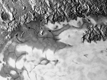 NEW HORIZONS INFO DIRECT : MERCREDI 29 JUILLET 11h30 NEW HORIZONS DÉCOUVRE DES FLOTS DE GLACE SUR PLUTON ! Les récentes images ajoutées au panorama de Tombaugh Regio sur Pluton dévoilent des flots de glace comparables aux glaciers alpins. « Découvrir que Pluton est géologiquement active, c'est un rêve qui devient réalité », s'est enthousiasmé le planétologue William McKinnon, lors de la présentation de nouvelles images de la sonde New Horizons le 24 juillet 2015 au siège de la NASA. Ces clichés montrent le nord de la vaste étendue de glace en forme de c½ur, surnommée Tombaugh Regio en hommage au découvreur de Pluton. « On voit des flux de glace visqueuse, probablement similaires aux glaciers sur Terre », décrit William McKinnon. Des glaciers d'azote : La différence majeure, c'est qu'ils ne sont pas faits d'eau. Un tel glacier serait immobile sur Pluton car l'eau devient rigide à si basse température. « En revanche, les glaces de méthane, de monoxyde de carbone et d'azote restent molles », précise le chercheur. Ici, c'est la glace d'azote qui domine. La sonde a mesuré la présence de monoxyde de carbone sur Tombaugh Regio, mais il est plutôt concentré au centre de la calotte glaciaire. La glace avance sur un terrain ancien : « Ce que l'on voit en haut de l'image est un terrain qui a été profondément érodé, et on peut même dire que cette zone est très ancienne car il y a des cratères d'impact », explique William McKinnon. Et c'est sur ce terrain accidenté que la glace avance. On la voit même rentrer dans un cratère par une brèche vers la droite ! Reste à savoir si ces glaces avancent toujours. Lorsque les géologues parlent de planète encore active, ils parlent à l'échelle géologique. Pour eux, cette région s'est formée il y a 100 millions d'années tout au plus car elle ne montre aucun cratère d'impact. Il semble même que la partie sud de Tombaugh Regio soit plus jeune encore. Mais ces indices ne nous disent pas si ce processus d'évolution est toujours en cours. Et enco