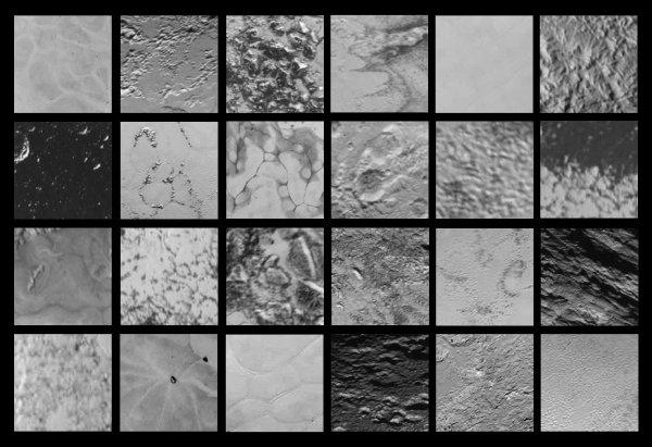 NEW HORIZONS INFO DIRECT : JEUDI 30 JUILLET 9h30 24 IMAGES DE LA SURFACE DE PLUTON PRISES PAR LA SONDE NEW HORIZONS montre une diversité de terrains jamais vue auparavant sur un corps de cette taille !! La surface de Pluton surpasse les rêves les plus fous des planétologues. Comme le montrent ces zooms sur différentes régions de la planète naine, elle est d'une complexité géologique inédite pour un corps de cette taille. Malgré l'éloignement du Soleil et la température de -235°C en surface, Pluton est active tant sur le plan géologique que sur le plan météorologique ! Cet assemblage a été réalisé par « Gladstoner », l'un des membres du forum anglophone « Unmanned Space Flight ». (Sources NASA-AFA)