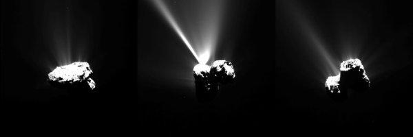 ROSETTA INFO DIRECT : VENDREDI 14 AOÛT 16h L'IMAGE DU JOUR : Trois photos de la comète 67P/Churyumov–Gerasimenko capturées par la caméra OSIRIS de la Sonde ROSETTA juste avant le passage de la comète derrière le Soleil dans la zone du périhélie, le point le plus proche du Soleil, plusieurs millions de kilomètres cependant !!! La sonde est à plus de 330 km de sa comète très active actuellement !! (Sources ESA-CNES)