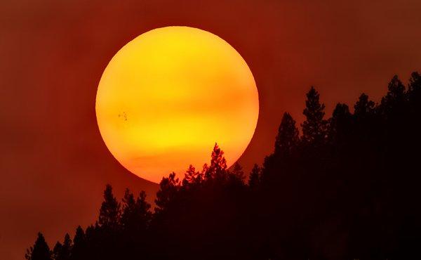 L'IMAGE DU JOUR : Le groupe de taches solaires AR2304 photographié par John Ashley à travers la fumée des incendies de forêt dans le Montana. Ce groupe de taches AR23045 pourrait donner lieu à une belle éruption. Il est bien observable pendant tout le début de cette semaine. Apparu le 18 août 2015 sur le bord du Soleil, le groupe de taches AR2304 est maintenant au milieu du disque solaire. Et il est bien visible à l'½il nu depuis ce week-end (attention : ne regarder le Soleil qu'à travers un filtre adapté et certifié sous peine de subir de graves lésions oculaires) Le photographe américain John Ashley l'a photographié le 21 août depuis le Montana en profitant d'un filtre inhabituel : la fumée de feux de forêt. Toutefois, la superposition optique des deux phénomènes ne doit pas conduire à les associer : contrairement à ce qui pouvait encore être imaginé, le niveau de l'activité solaire n'influence en rien le réchauffement climatique qui, lui, est pour une part responsable de l'augmentation du nombre des feux de forêt en été. (Source AFA-J.A.)
