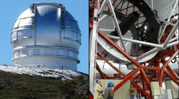 L'IMAGE DU JOUR : LE GRAND TÉLESCOPE DES CANARIES ! (Un petit clin d'½il à la Compagnie ÉSOPE !!) Avec son miroir de 10,4 mètres, le Grand Télescope des Canaries (GTC) est l'un des instruments les plus puissants actuellement en service. Les espagnols l'ont surnommé Gran Tecan (pour Gran Telescopio Canarias) : situé à 2.400 m d'altitude sur l'île de La Palma aux Canaries, le GTC est un télescope géant (300 tonnes monture comprise) qui fait partie de l'Observatoire del Roque de los Muchachos. Le GTC est l'un des plus grands télescopes du monde : abrité sous une coupole de 32 m de diamètre, son miroir primaire est composé de 36 miroirs hexagonaux d'une surface collectrice totale de 75,7 m² ; cela représente l'équivalent d'un miroir sphérique de 10,4 m de diamètre. (Source JBF)