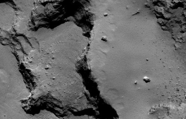 ROSETTA INFO DIRECT : MERCREDI 21 NOVEMBRE 2015 18h TCHOURI, LA COMÈTE AUX DEUX LOBES : Rosetta continue de révéler la structure interne du noyau de la comète 67/P Churyumov-Gerasimenko. Les noyaux cométaires sont des objets qui se sont formés au tout début de l'histoire du système solaire dans la nébuleuse primitive. Toutefois, les processus qui ont conduit à la formation de ces objets à partir de poussières restent très mal connus et font l'objet de recherches très actives dans la communauté scientifique. Lors de la phase d'approche de la comète lors de l'été 2014, les premières images obtenues par les caméras de l'instrument OSIRIS à bord de la sonde ont révélé que le noyau est formé de deux « lobes » posés l'un sur l'autre. (Sources ESA-CNES) Sur l'image ci-dessous ces structures ont été analysées en détails par les scientifiques, qui ont pu ainsi relier les propriétés (hauteurs et pentes) des principales terrasses pour mettre en évidence la présence d'une stratification à grande échelle sous la surface de la comète Tchouri. Au total, ils ont pu ainsi identifier cinq à six strates d'épaisseurs variables sur chacun des deux lobes de la comète correspondant à une épaisseur totale de 650 m. La répartition spatiale de ces strates semble par ailleurs montrer que la comète s'est formé par l'agglomération des deux lobes observés actuellement par la sonde, formant ainsi ce qu'on appelle une « binaire de contact ». La présence de nombreuses strates sous la surface de la comète est un résultat plutôt inattendu de la mission Rosetta. Elle permettra d'apporter des contraintes sur les processus d'accrétion qui ont conduit à la formation des noyaux cométaires, vestiges de la formation du système solaire. A suivre! (Sources ESA-CNES)