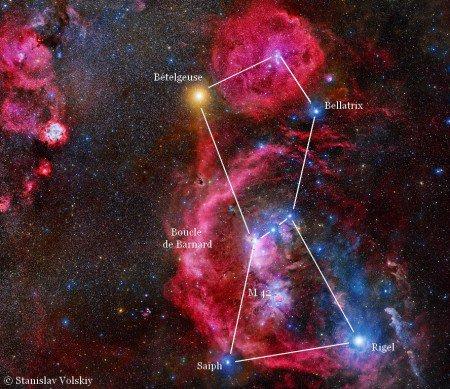 L'IMAGE DU JOUR : LA CONSTELLATION D'ORION : Beaucoup d'entre nous ont déjà admiré dans le ciel hivernal la belle constellation d'Orion. En combinant l'usage d'un filtre et une très longue pose photographique, Stanislav Volskiy nous offre une vision inédite de la constellation d'Orion. Il a additionné de nombreux clichés représentant l'équivalent d'une pose unique de 212 heures ! Ces clichés ont été pris à l'aide d'un filtre H-alpha destiné à mieux restituer les nébuleuses en émission dont la plupart ont une dominante rouge, la couleur de la raie de l'hydrogène alpha. De plus, il dispose d'un petit observatoire automatisé au Chili, au milieu du désert d'Atacama. Cette région, avec un ciel dégagé plus de 300 nuits par an, loin de toute lumière parasite, est un paradis pour astronomes qui ne s'y sont pas trompés puisque les plus grands télescopes de la planète y sont installés. Les principaux astres qui délimitent le corps du vaniteux chasseur de la mythologie grecque, Orion : ses épaules sont marquées par Bételgeuse et Bellatrix, sa taille est représentée par 3 étoiles alignées et Saïph et Rigel symbolisent ses pieds. Si nous n'avons pas trop de pollution lumineuse et que nos yeux sont bien habitués à l'obscurité, nous pouvons même distinguer la petite tache diffuse de Messier 42. (Sources SV-JBF)