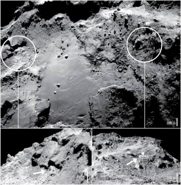 ROSETTA INFO DIRECT : JEUDI 14 JANVIER 2016 : 17h30 DES TRACES D'EAU SUR LA COMÈTE TCHURY !! Les chercheurs de la mission ROSETTA viennent d'annoncer que l'instrument VIRTIS de ROSETTA a trouvé des preuves définitives de glace d'eau dans la région d'Imhotep sur la comète 67P/ Churyumov-Gerasimenko. La sonde ROSETTA se trouvait à 28 km de la comète lors de la prise de ces photos datés du 15 au 20 septembre dernier. (Sources ESA-CNES)