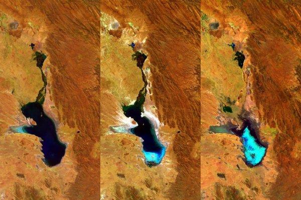 L'IMAGE DU JOUR : UN LAC EN BOLIVIE ASSÉCHÉ ! En contrôlant la surface de la Terre chaque jour, le minisatellite PROBA-V de l'ESA a suivi l'asséchement de ce lac en un peu plus d'un an ! Le lac Poopó a maintenant été déclarée entièrement évaporé. Les trois résolution de 100 m PROBA-V montrent des images acquises respectivement. le 27 avril 2014, le 20 juillet 2015 et le 22 janvier 2016. En occupant une dépression dans les montagnes Altiplano, ce Lac salin a, dans le passé, recouvert une zone de 3000 kilomètres carrés, plus grande que la superficie de l'Île Réunion ! Mais la nature peu profonde du lac, juste 3 m, couplés avec son environnement de région montagneuse aride, a été très sensible aux fluctuations dans le climat ces deux dernières années ! (Source ESA)