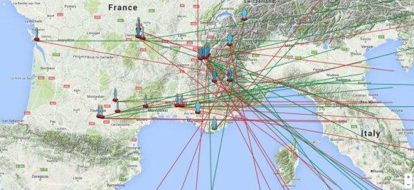 BOLIDE DU 17 FÉVRIER 2016 à 18h19 : Un impressionnant bolide a été observé en tout début de soirée du mercredi 17 février 2016 depuis une large moitié Sud de la France, vers 18h19 (heure locale). L'international Meteor Organization (IMO) et le REFORME (REseau Français d'ObseRvation de MEtéores) ont déjà reçu plus de 50 témoignages à propos de ce bolide. Les analyses automatiques des témoignages par l'IMO donnent une trajectoire grossièrement Nord-Est / Sud Ouest au-dessus de la frontière franco-italienne. Cette trajectoire devrait être affinée avec l'analyse fine des témoignages les plus précis, et des éventuelles vidéo complémentaires qui pourraient encore arriver. (Sources IMO-REFORME) Voir la carte ci-dessous :