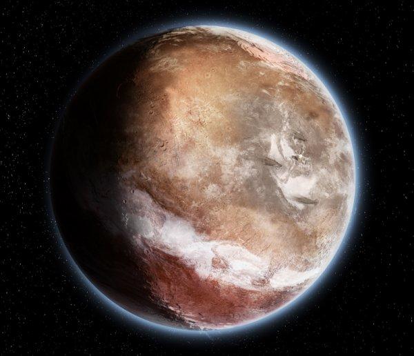 INFO ASTRO : Le sol martien a basculé sous son propre poids ! Une nouvelle théorie vient bousculer l'histoire de la planète Mars. Son manteau aurait basculé à cause de la lourde masse du dôme de Tharsis, modifiant totalement la position de ses pôles et glaces primitives.  L'étude, parue aujourd'hui dans la revue britannique Nature, a été réalisée en grande partie par une équipe française, dont Sylvain Bouley (laboratoire Geops de l'université Paris Sud) et François Forget (laboratoire de Météorologie Dynamique et CNRS).  Selon ces chercheurs, le basculement d'une ampleur de 20 à 25° du manteau martien s'est produit voilà 3 à 3,5 milliards d'années, . « Un peu comme la chair d'un abricot peut tourner autour du noyau », précise Sylvain Bouley.  Mars n'avait donc pas du tout le même visage dans sa jeunesse. Il n'est pas simplement question de sa géographie, mais bien de la position de sa surface, dans son ensemble.  Cette glissade de terrain globalisé est due au développement d'une masse titanesque : le dôme de Tharsis, vaste région de près de 6000 km de diamètre où se trouvent notamment les plus grands volcans martiens.  Elle expliquerait pourquoi une large bande de rivières fluviales se situe aujourd'hui en diagonale de l'axe de la planète, plutôt que sur une bande parallèle à l'équateur comme les modèles le prévoient. (Source C&E)