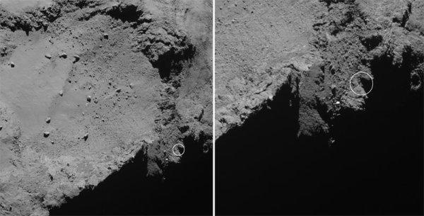 ROSETTA INFO DIRECT : MERCREDI 13 AVRIL 2016 : 19h L'INFO DU JOUR : LA CAMERA OSIRIS LOCALISE PEUT-ÊTRE LE LIEU D'ATTERRISSAGE DE PHILAE ! Des images enregistrées à la mi-décembre par la caméra OSIRIS-NAC de Rosetta auraient permis de retrouver le robot Philae largué sur la comète 67P le 12 novembre 2014 à plus de 500 millions de km de la Terre. Des mesures ont été effectuées pendant les 60 h qu'a duré l'atterrissage et il a finalement été possible de localiser Philae sur une zone circulaire de 50 m de diamètre (figure ci-dessous). Par ailleurs, les mesures du magnétomètre ROMAP de Philae, cette fois-ci, ont permis de déterminer l'orientation de l'atterrisseur, probablement posé sur le flanc sur 2 de ses pieds et l'un de ses côtés. Des analyses complémentaires ont alors été menées au SONC du CNES de Toulouse permettant de localiser plus précisément la position de Philae dans une zone de 10 m de diamètre, grâce aux conditions d'ensoleillement et à la durée des contacts radio entre l'atterrisseur et l'orbiteur. (Sources CNES-ESA)