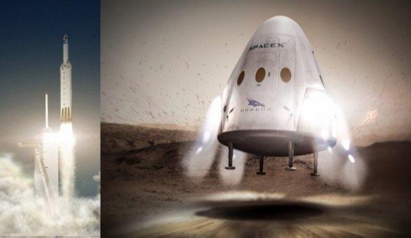ESPACE INFO : SPACE X VEUT SE POSER SUR MARS EN 2018 !! Elon Musk, le fondateur de la firme SpaceX, a annoncé qu'en 2018 il voulait envoyer une capsule Dragon se poser en automatique sur la planète rouge. L'engin décollerait au sommet de la version Heavy (lourde) du lanceur Falcon 9. Il est clair aussi que les déclarations de Musk ne sont pas que des astuces publicitaires. L'architecture des lanceurs de SpaceX et de sa future capsule habitée Dragon 2 (qui doit transporter des astronautes de la NASA vers l'ISS dès 2019) est compatible avec des visées martiennes. De fait, si en 2018 cette capsule (inhabitée, il s'agit d'un test sans astronautes) se pose bien sur Mars, Elon Musk en aura fait une démonstration spectaculaire ainsi que du nouveau lanceur Falcon Heavy qui sera employé pour le lancement. A suivre ! (Source SpaceX et CE)