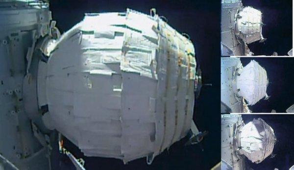 ESPACE INFO : BEAM, UN MODULE GONFLE POUR L'ISS, du volume en plus ! Le 28 mai, la NASA a annoncé que le module expérimental BEAM de l'ISS avait été gonflé à sa taille maximale (16 m3). Fourni par l'entreprise Bigelow, BEAM vise à tester si de tels modules peuvent être utilisés pour les vols habités, (cf photos). Le schéma ci-dessous de la NASA indique l'emplacement du BEAM sur l'ISS. Le module gonflable est amarré au module Tranquility (Node 3), l'un des modules du secteur américain construit par Thales Alenia Space en Italie. (Source NASA)