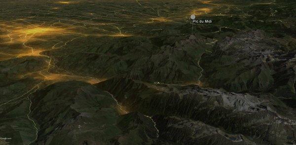 Carte de pollution lumineuse des Pyrénées - AVEX 2016 De nouvelles cartes de pollution lumineuse viennent d'être mis à jour par l'AVEX. (Source AVEX2016)