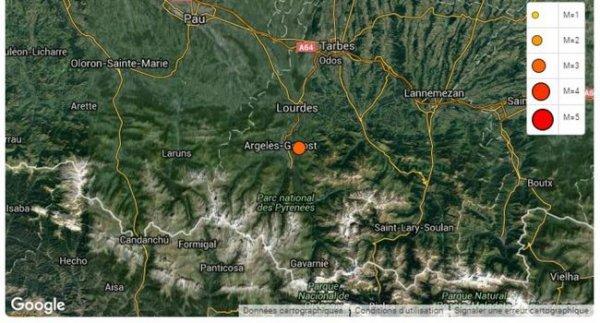 ALERTE TREMBLEMENT DE TERRE DANS LES HAUTES-PYRÉNÉES : Ce jeudi 7 juillet 2016 à 3h55, un séisme de magnitude 3.3 sur l'échelle de Richter a été relevé entre Argelès-Gazost et Tournay, et d'une profondeur de 5km. Il faut rappeler que les Pyrénées sont situés sur une zone sismique. Ces territoires sont souvent touchés par des secousses sismiques d'intensité modérée ou faible parfois accompagnées de répliques. (Sources BCSF)