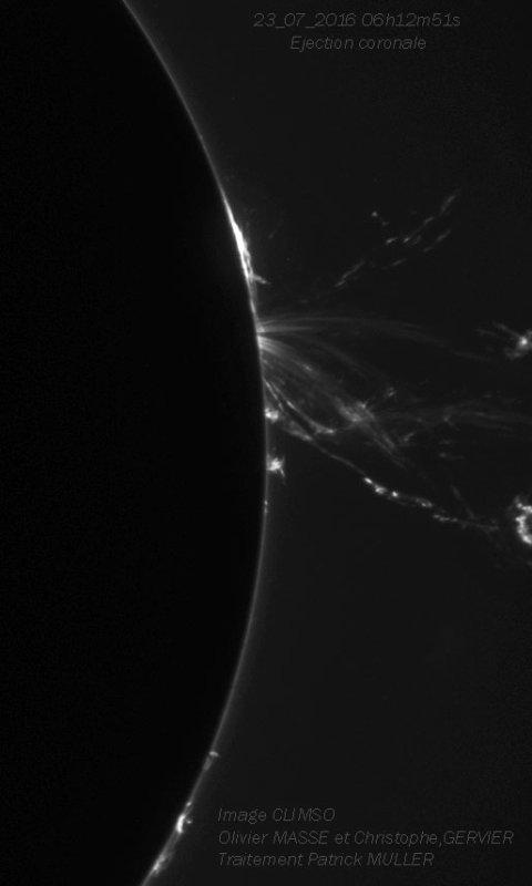 L'IMAGE DU JOUR : Quand le groupe de tache solaire (AR2565) à basculé de l'autre coté du limbe solaire, les boucles on lâchées, provocant une belle éjection coronale. Une image réalisée hier (tôt le matin) par O MASSE et C GERVIER et P MULLER, OA de service sur CLIMSO télescope solaire du PIC DU MIDI. (Sources PM-OA-CLIMSO)
