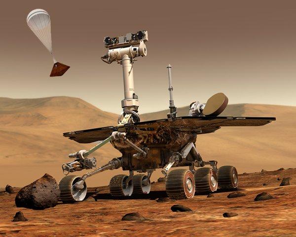 ESPACE INFO : Sur Mars, le rover américain Opportunity devrait faire des images de l'arrivée du module européen Schiaparelli depuis la surface martienne... Quand il tentera de se poser sur Mars, le 19 octobre 2016, le module européen Schiaparelli sera attendu. Alors qu'il descendra sous son parachute au-dessus de la région de Meridiani Planum, le robot américain Opportunity, déjà sur place depuis 2004, tentera de le photographier. (Sources ESA-NASA-CE)
