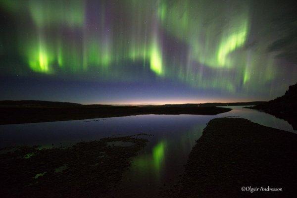 L'IMAGE DU JOUR : DES AURORES BORÉALES exceptionnelles et fantastiques sur l'Islande hier soir, 30 aout 2016. (Source Olgeir Andresson)