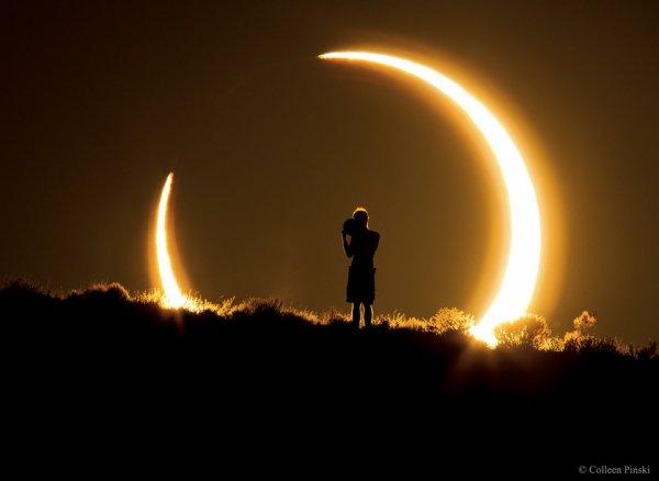 CE JEUDI 1er SEPTEMBRE 2016, le Soleil s'éclipse pour la seconde fois de l'année. Le phénomène sera observable depuis une majeure partie du continent africain, mais aussi de Madagascar, d'une partie de la péninsule arabique et des îles de l'Océan Indien. Fait rare : la phase centrale de l'éclipse, qui sera annulaire, passera directement par l'Ile de la Réunion. (Photo de Colleen Pinski, de l'Eclipse annulaire en 2012 au Nouveau Mexique)