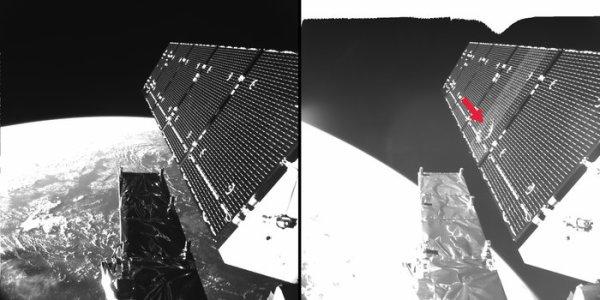 ESPACE INFO avec L'IMAGE DU JOUR : Les ingénieurs de l'ESA ont découvert qu'un panneau solaire sur le satellite Copernic Sentinel-1A a été endommagé à la suite d'un impact possible par des débris ou micrométéorites sur le panneau solaire. Les caméras embarquées sur le satellite et les contrôleurs au sol ont été en mesure d'identifier la zone touchée. Jusqu'à présent, il n'y a pas eu d'effet sur les opérations de routine du satellite. Une petite réduction de puissance soudaine a été observée dans un panneau solaire de Sentinel-1A, en orbite à 700 km d'altitude. De légères modifications dans l'orientation et l'orbite du satellite ont également été mesurées en même temps. (Sources ESA)