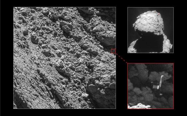 ROSETTA INFO DIRECT : LUNDI 5 SEPTEMBRE 2016 : 17h L'IMAGE DU JOUR : ROSETTA VIENT DE TROUVER PHILAE !!! L' atterrisseur de ROSETTA, du nom de PHILAE a été identifiée par la caméra OSIRIS sur ces images prises le 2 Septembre 2016 à une distance de 2,7 km de la comète. Sur l'image on voit distinctement l'atterrisseur PHILAE et deux de ses trois jambes étendues. Les images fournissent également la preuve de l'orientation de PHILAE. Une image de la Camera de ROSETTA prise le 16 Avril 2015 représente en haut à droite, l'emplacement approximatif de PHILAE sur le petit lobe de la comète Churyumov-Gerasimenko ! (Sources ESA-CNES)