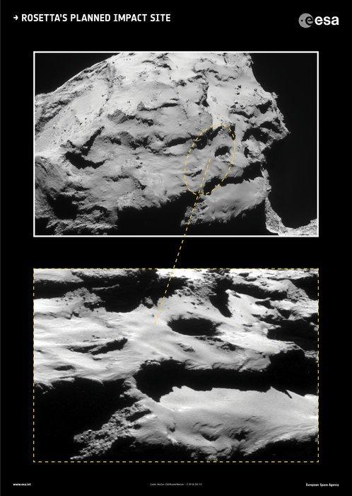 ROSETTA INFO DIRECT : SAMEDI 10 SEPTEMBRE 2016 : 9h L'IMAGE DU JOUR : LE SITE D'IMPACT PRÉVU DE ROSETTA. Le 30 Septembre 2016, ROSETTA est destiné à un impact contrôlé dans la région Maât de la comète 67P/Churyumov-Gerasimenko, le ciblage d'un point à l'intérieur d'une ellipse (un contour très approximatif est marqué sur l'image). La zone cible est le foyer de plusieurs fosses actives mesurant plus de 100m de diamètre et 60m de profondeur, à partir de laquelle un certain nombre de jets de poussière de la comète ont été observé. Certaines des parois du puits présentent également des structures intrigantes, qui pourraient être les signatures des premiers impacts montrant les premières phases de la formation de cette comète !! (Sources ESA-CNES)
