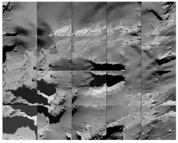 ROSETTA INFO DIRECT : LUNDI 3 OCTOBRE 2016 : 20h FIN DE LA MISSION OFFICIELLE DE ROSETTA !! Une mosaïque d'images capturées par Rosetta lors de sa descente vers la surface de la comète 67P / C-G le 30 Septembre. (Sources ESA-CNES)