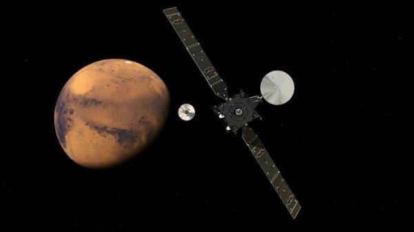 EXOMARS INFO DIRECT : 7 octobre 2016 Le 19 octobre, la mission ExoMars 2016 s'insérera en orbite autour de la planète rouge alors qu'au même moment son atterrisseur Schiaparelli descendra vers la surface. ExoMars est une mission conjointe de l'ESA et de l'Agence spatiale Russe Roscosmos, qui comprend l'orbiteur d'étude des gaz à l'état de traces (TGO) et le démonstrateur d'entrée, de descente et d'atterrissage Schiaparelli. TGO a pour mission d'effectuer un inventaire complet des gaz présents dans l'atmosphère de Mars, tout en prêtant une attention particulière à des gaz rares comme le méthane, dont la présence implique une source active. TGO vise ainsi à mesurer la dépendance géographique et saisonnière du méthane afin de déterminer si sa source est géologique ou biologique. (Sources ESA-ROSCOMOS).